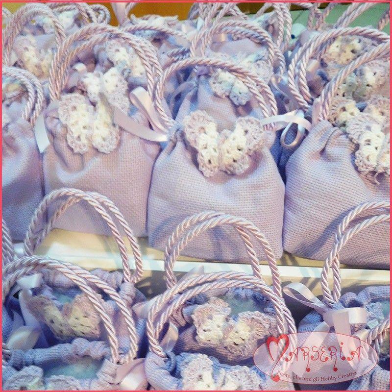lotto-48-bomboniere-borsette-portaconfetti-lilla-in-tela-aida-da-ricamare-con-farfalla-all-uncinetto.jpg (800×800)