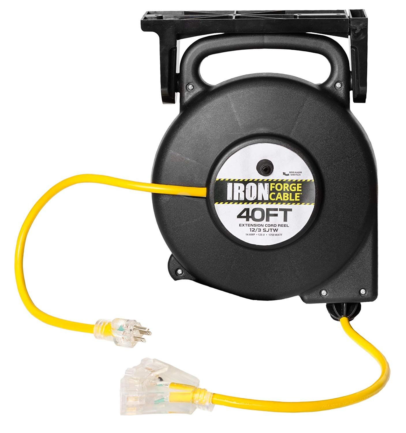 40 Ft Retractable Extension Cord Reel 2 In 1 Mountable And