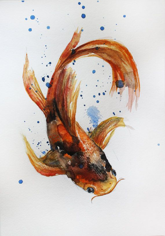 Original aquarelle peinture koi fish or poisson par for Poisson koy