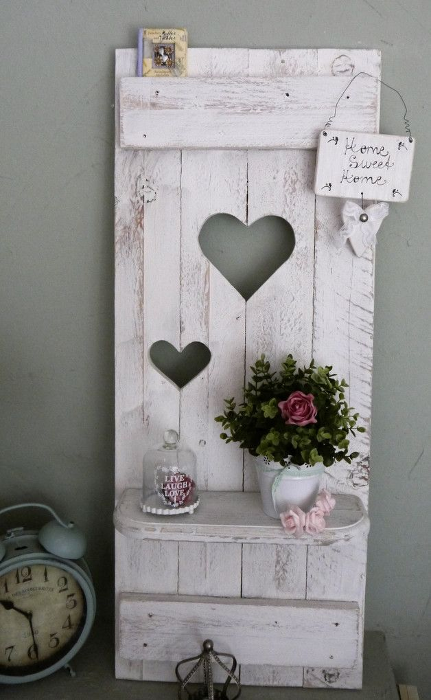 shabby chic fensterladen herz regale holz altwei. Black Bedroom Furniture Sets. Home Design Ideas