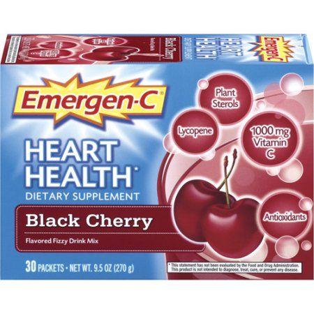 Emergen-C Black Cherry Heart Health Dietary Supplement, 30ct, Multicolor