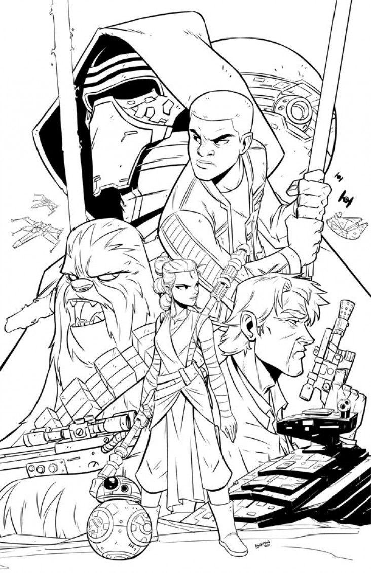 Star Wars Le Reveil De La Force Dessiner Kylo Ren Rey Finn Et