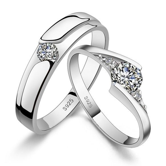 Custom Wedding Bands For Men And Women Sterling Silver Couple Wedding Rings Fashion Rings Wedding Rings For Women