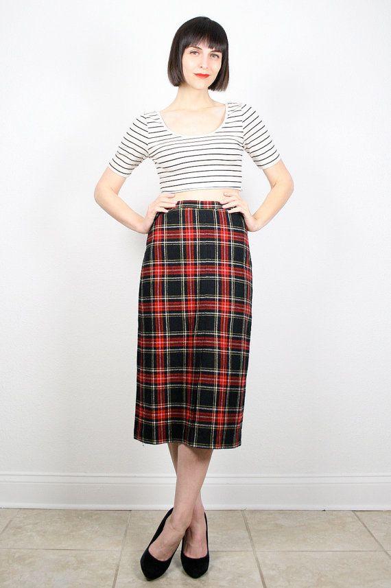 c7617dc8ea98 Vintage Red Black Skirt Pencil Skirt High Waisted Skirt Tartan Plaid Skirt  Midi Skirt Knee Length Prep Office Secretary Wiggle Skirt S Small by ...