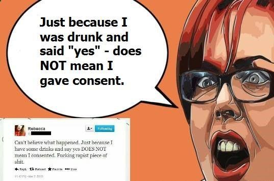 Um, yes it does. Regret does not equal rape. If you cant control yourself, dont get drunk.
