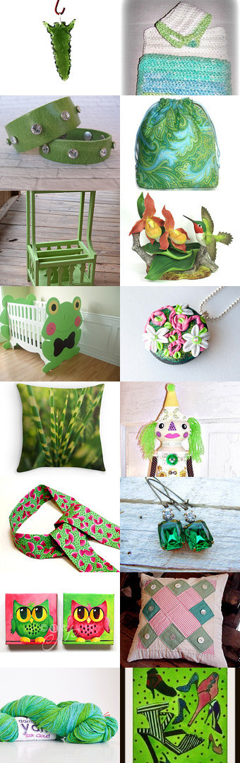 Gorgeous Greens! by Maria Plover on Etsy--bags purses dolls dub team fashion accessories frog baby crib gift guide gifts for her green handmade jewelry home decor housewares wash cloth ideas for gifts spring 2015 trends trending vintage hummingbirds vintage wood table wall art yarn