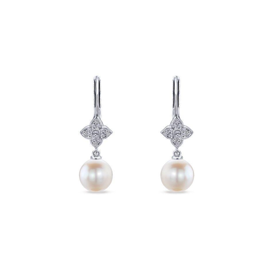 Cultured Pearl /& Round Cut Diamond Leverback Dangling Earrings in 14k White Gold