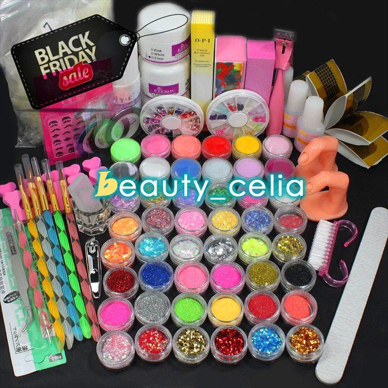 48 Color Acrylic Powder Glitter Liquid Nail Art Tips Sticker Brush ...