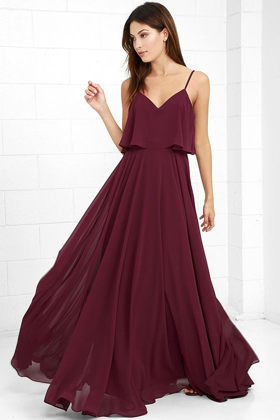 a05bb169dfb5 We re absolutely love struck over the Love Runs High Burgundy Maxi Dress!  Burgundy woven poly falls from adjustable straps into a tiered