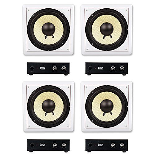 """Acoustic Audio HD-S10 In Wall 10/"""" Home Theater Passive Subwoofers 4 Speaker Set"""