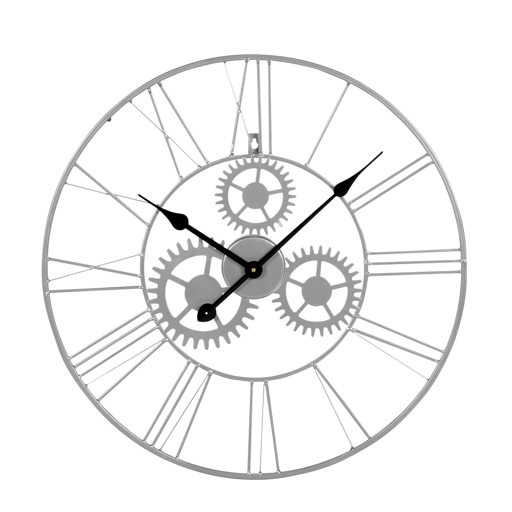 Horloge Murale D60cm Argent