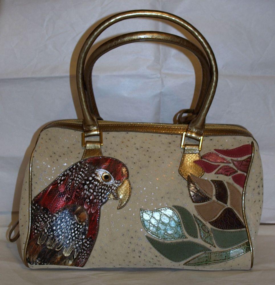 """sharif"" Parrot Applicate Leather Satchel - Vintage 2007"