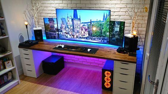 Battlestation V2   Item Links In Description | Desk Setup, Desks And Gaming  Setup Ideas