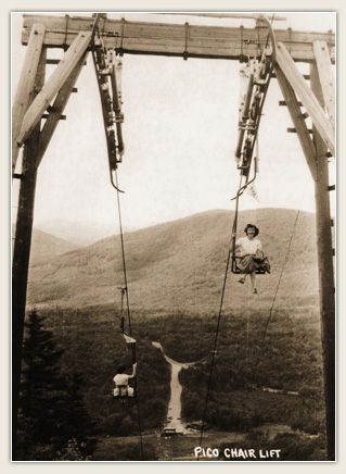 The first ski chair lift in North America Pico Mountain