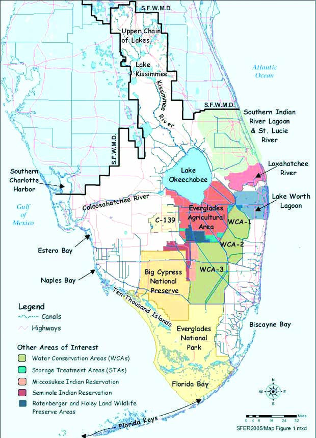 Florida Everglades Map.The Central Everglades Planning Project Map Shows The Areas Of