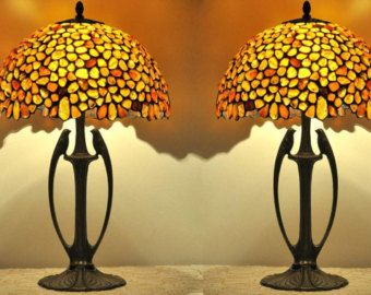 Amber Willow   Small Decorative Table Lamp, Hand Made From Natural Baltic  Amber And White