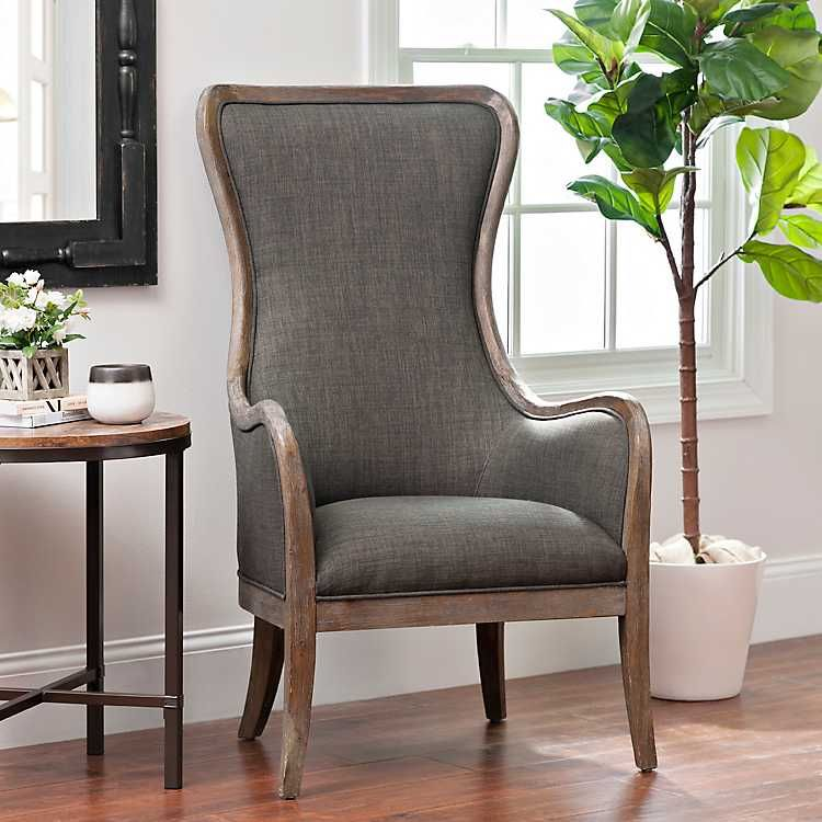 Best Product Details Charcoal High Wing Back Accent Chair In 400 x 300