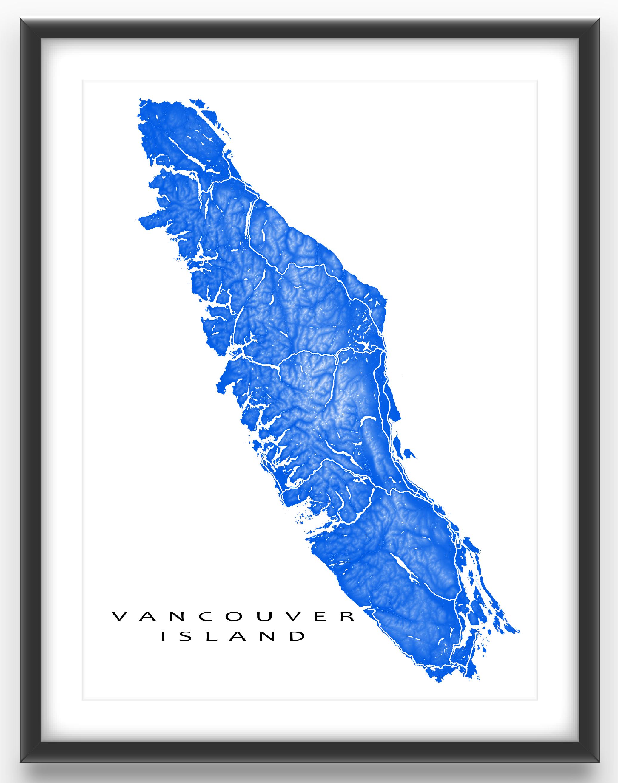 Nanaimo Canada Vintage Map Vancouver Island map print, British Columbia, Canada. See