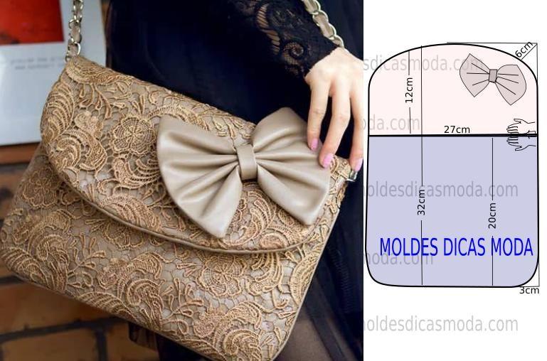 c45a956a7 A ilustração do molde bolsa em renda não tem valor de costura. Este  trabalho tem como objetivo ajudar quem não tem impressora. PASSO A PASSO  MOLDE DE BOLSA