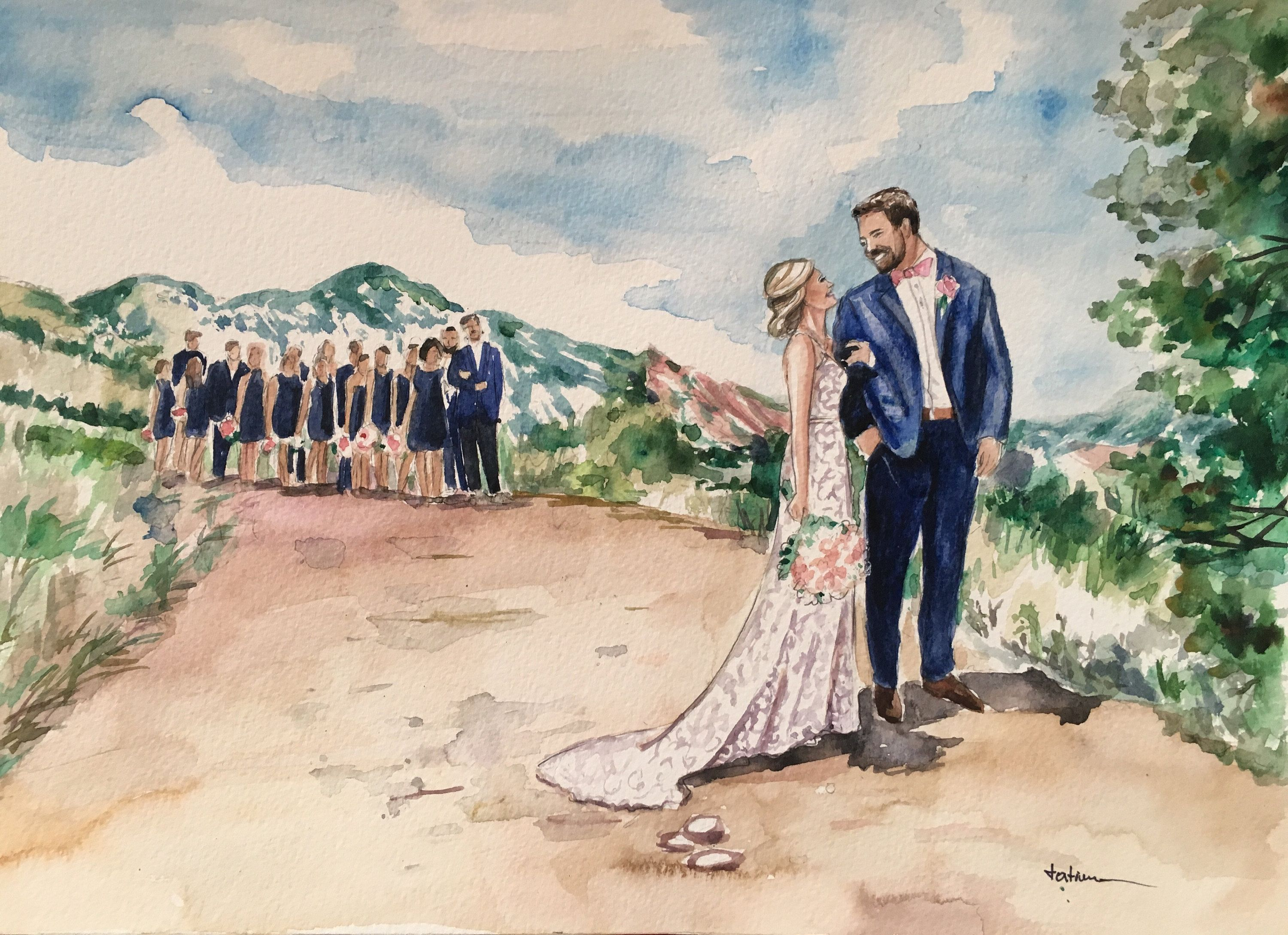Watercolor Wedding Portrait Custom Painting Custom Painting