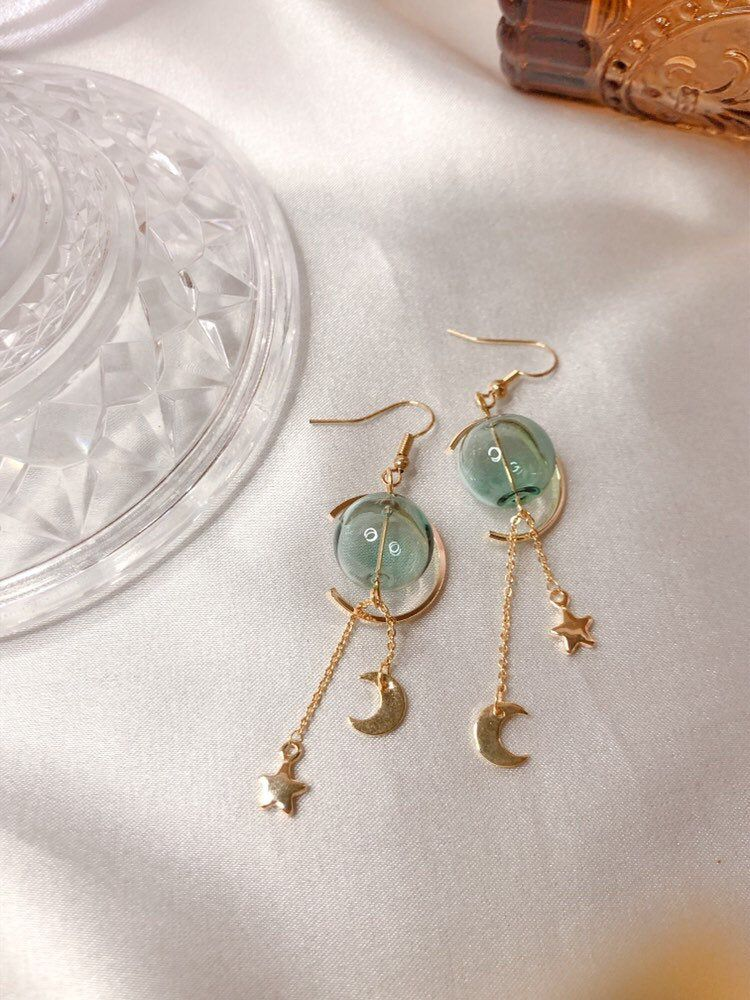 Celestial earrings, glass ball earrings, personali