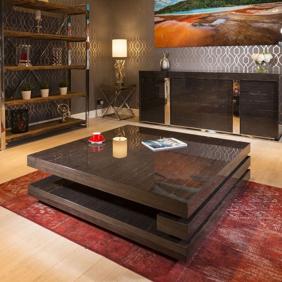 Extra Large Modern Square Black Gloss Grain 1 2 Mtr Coffee Table