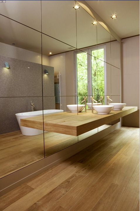 Contemporary Bathroom Dressed In Natural Woods A Wall Of Mirrorinimal Decor Very Chic
