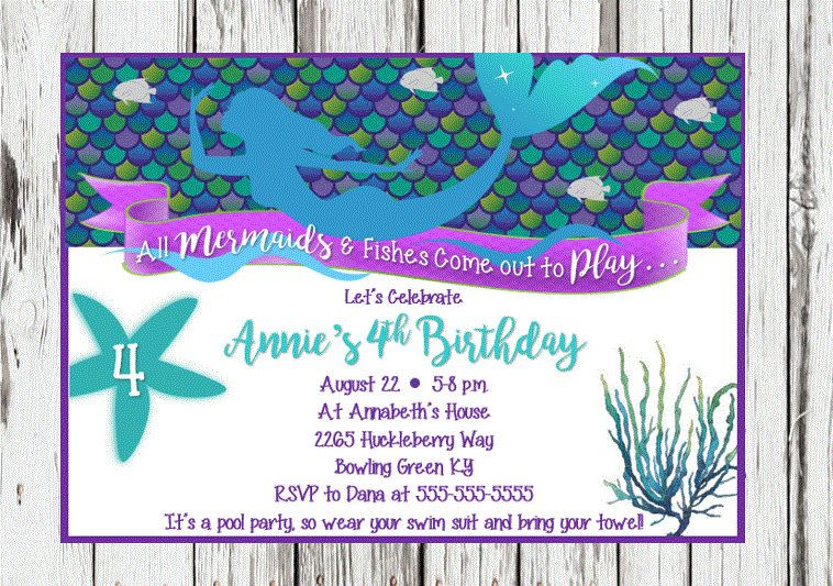 Mermaid Birthday Invitation Mermaid Party Invitations girls