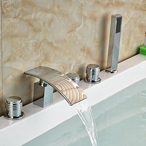 Senlesen Waterfall Widespread Bathtub Faucet Tap Rounds Handles With - Best buy bathroom faucets