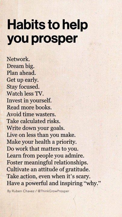 Habits to help me prosper #Goals #SelfMade #Love # ...