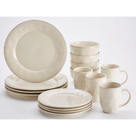 Rachael Ray Cucina Dinnerware 16-Piece Stoneware Dinnerware Set Ricotta White  sc 1 st  Pinterest & Rachael Ray Cucina Dinnerware 16-Piece Stoneware Dinnerware Set ...