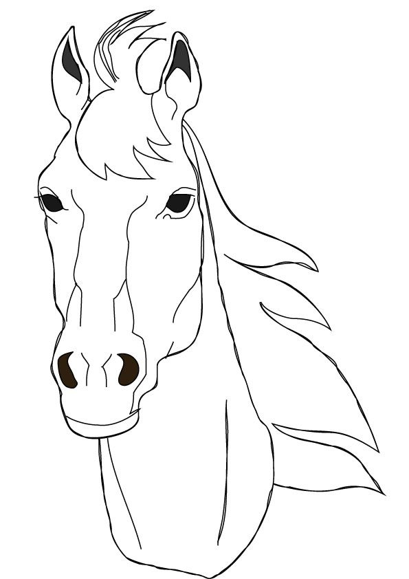 horse coloring pages | Free horse face coloring page. | Horses ...