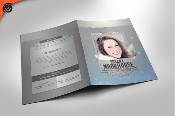 winter cool funeral program photoshop template 8 5x11 and 5 5x8 5 8