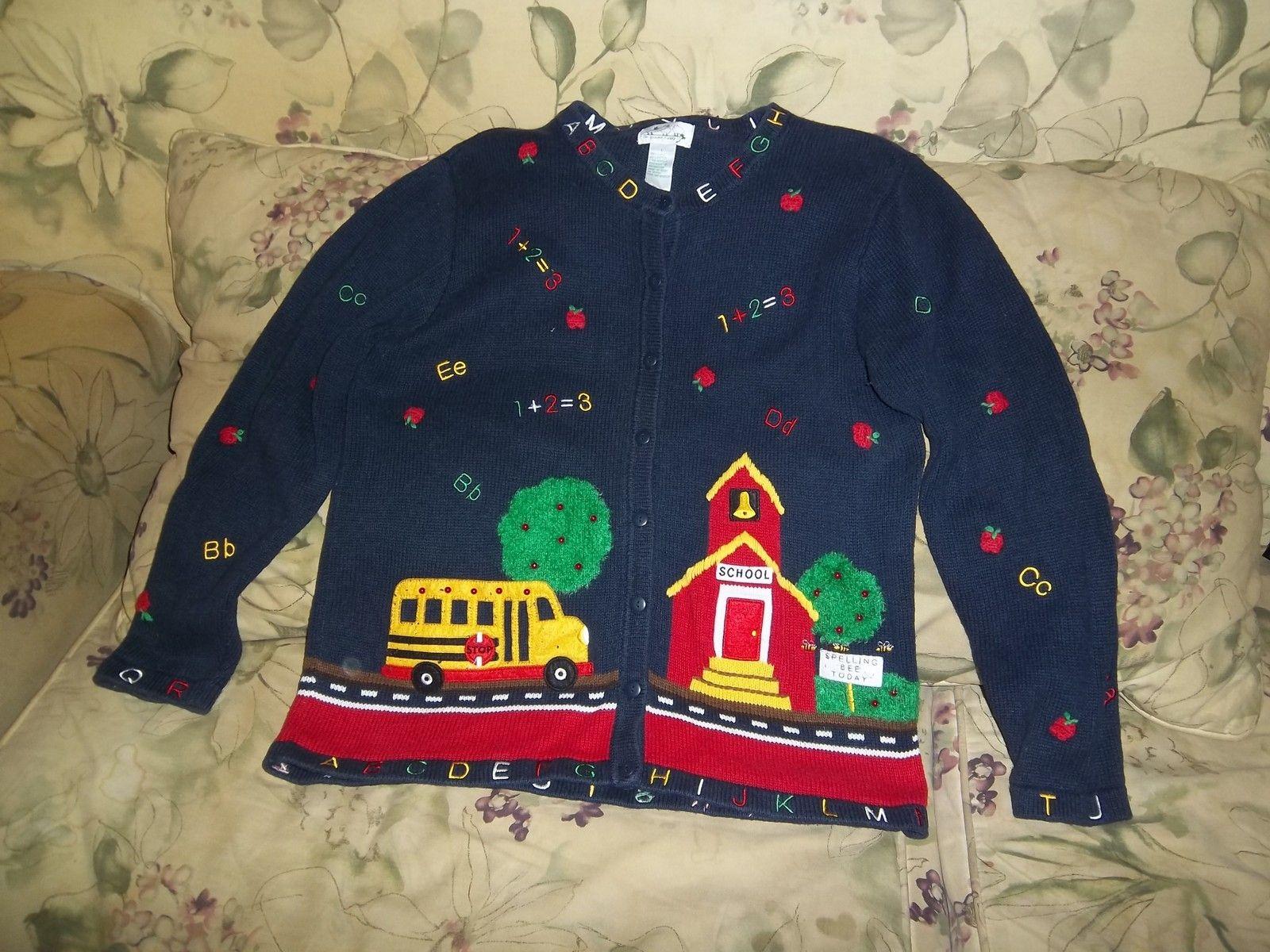 quacker factory size L school teacher scene sweater | eBay | Teacher