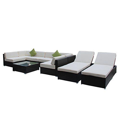Outdoor Rattan Set 9 Pcs Sofa Wicker Sectional Garden Patio