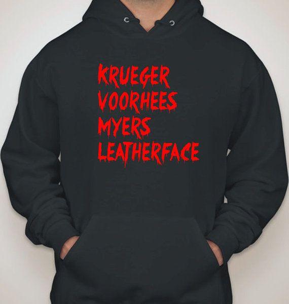 Horror Hoodie Sweatshirt Krueger Voorhees Myers by BitchinTShirts