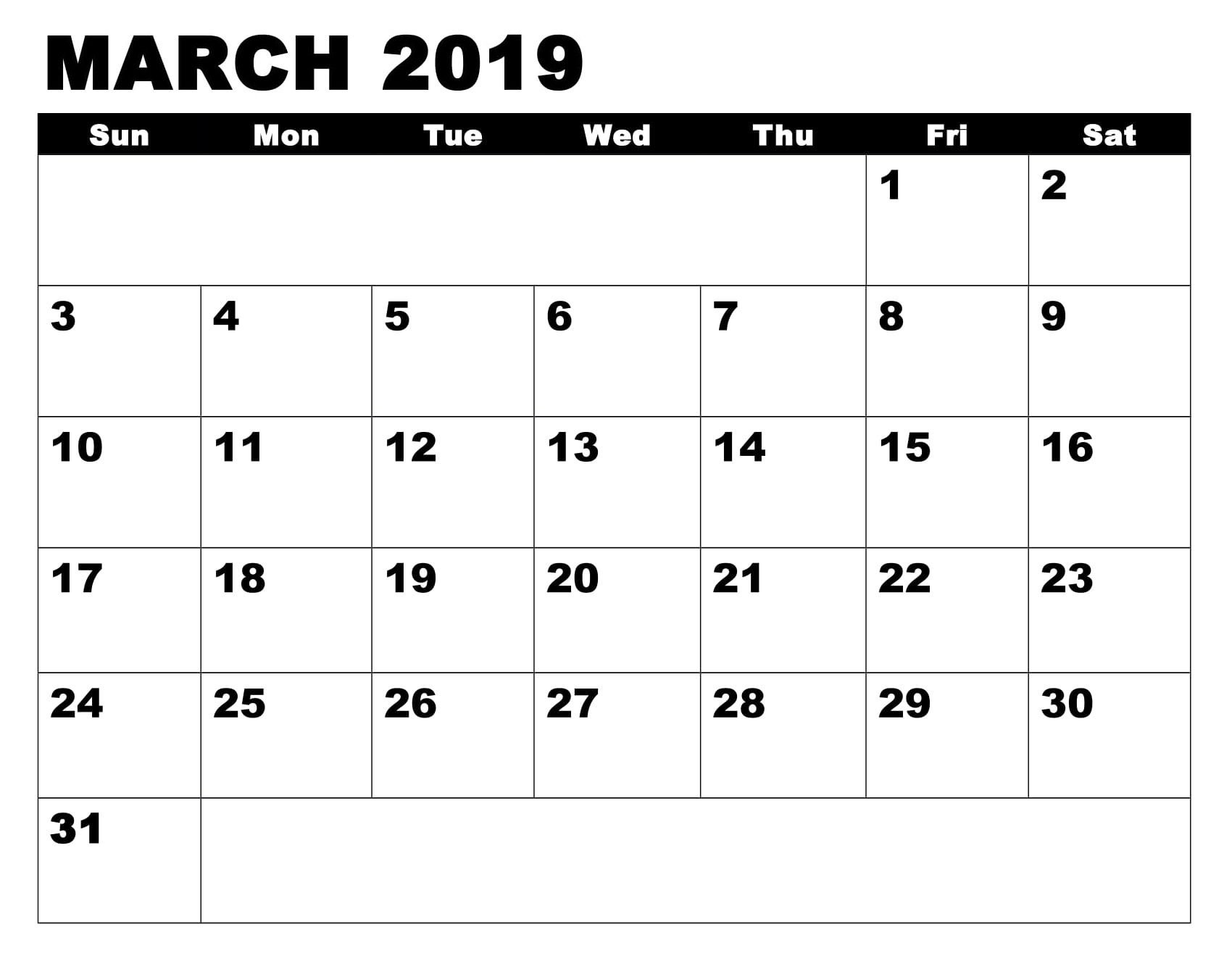 2019 March Calendar Template Printable With Images Calendar