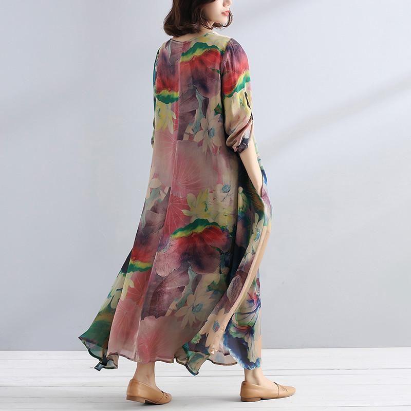 f95ec856bf3 Charming Women Casual Loose Retro Floral Dress - Buykud Linen Shirt Dress