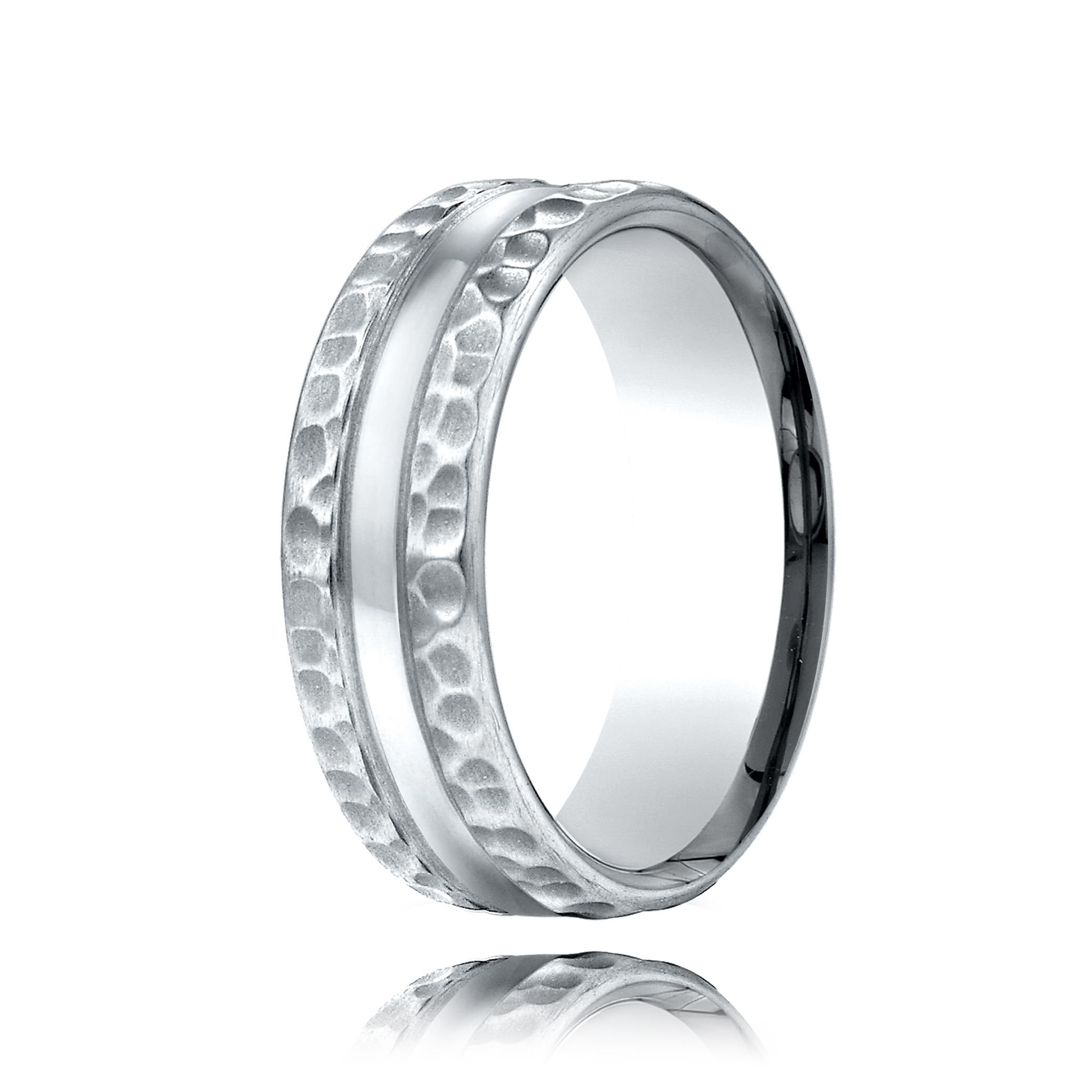 Palladium Hammered Finish Wedding Band Rings For Men Affordable Wedding Ring Mens Wedding Rings