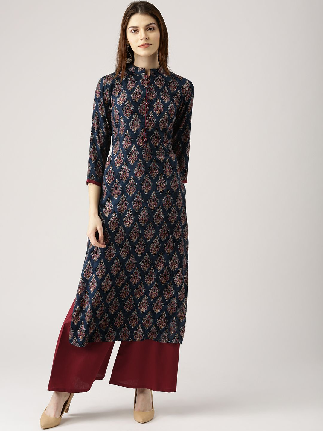 ec4134bf967 Buy Libas Women Navy Blue   Maroon Printed Kurta With Palazzos - Kurta Sets for  Women 2229810