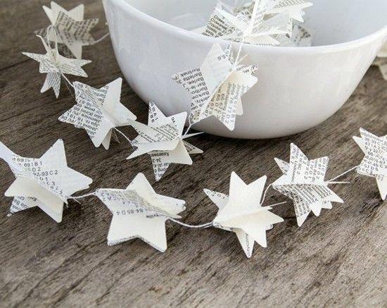 Girlande basteln - 80 Dekoideen für extra weihnachtliche Stimmung #3dsterneauspapier