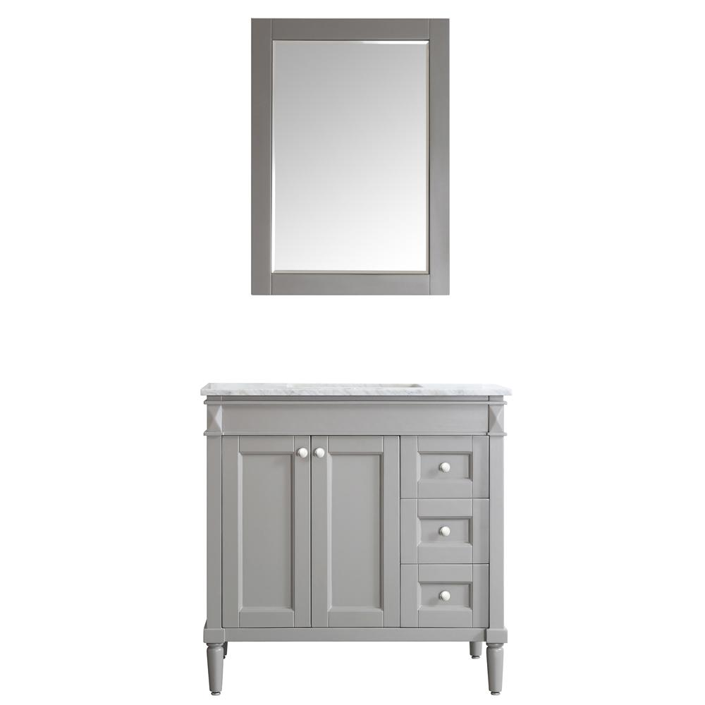 Roswell Catania 36 In W X 22 In D X 35 In H Vanity In Grey With Marble Vanity Top In White With Basin And Mirror Marble Vanity Tops Single Bathroom