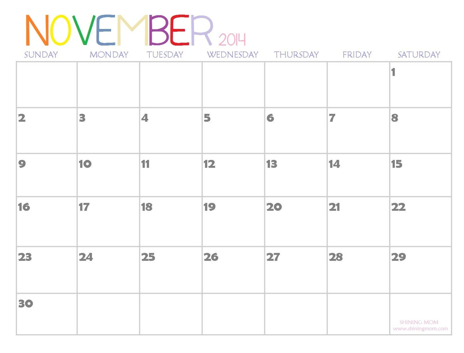 Blank November 2014 Calendar Printable Templates Printables
