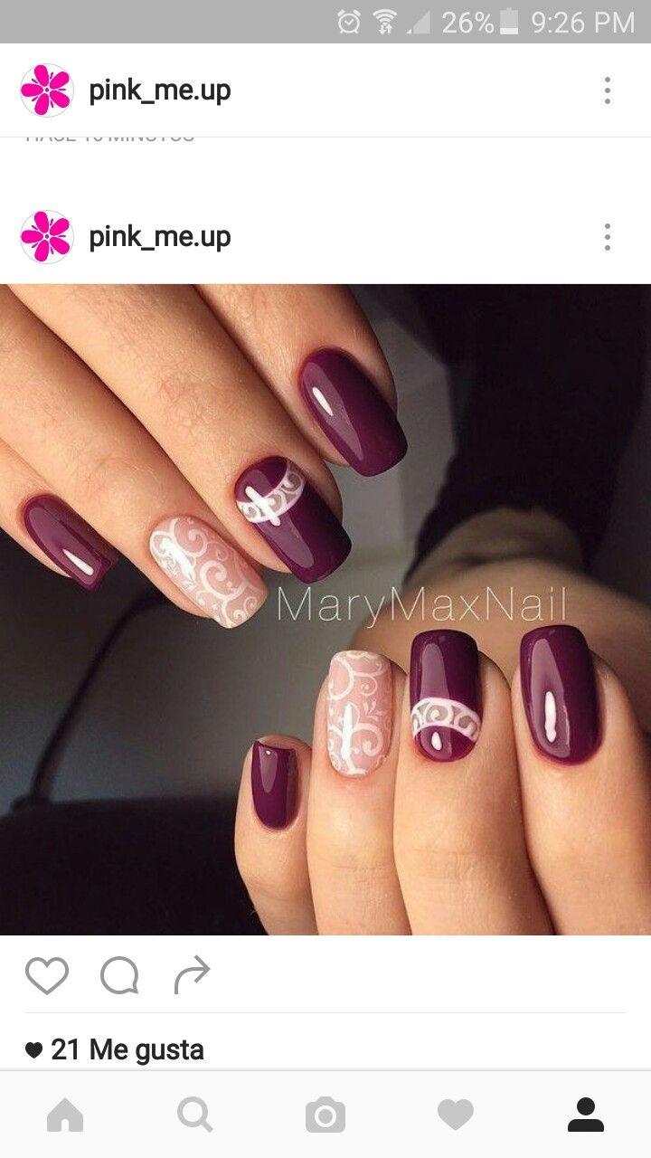 Vinotinto Uñas Pinterest Nail Art Nail Designs Y Nails