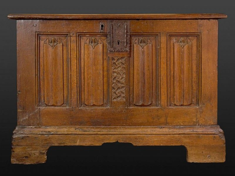 linenfold chest late 15th century, Marhamchurch antiques