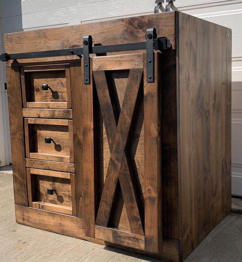 Farmhouse Vanity  Sliding Barn Door Cabinet | Etsy