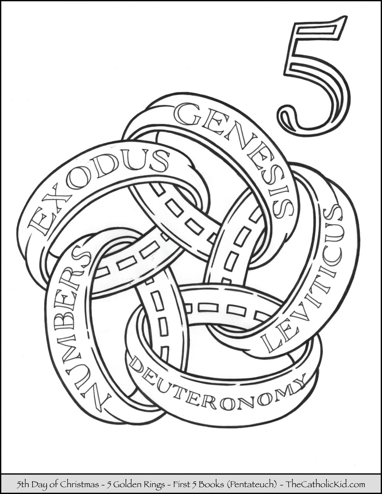 Fifth Day Of Christmas Five Golden Rings Coloring Page