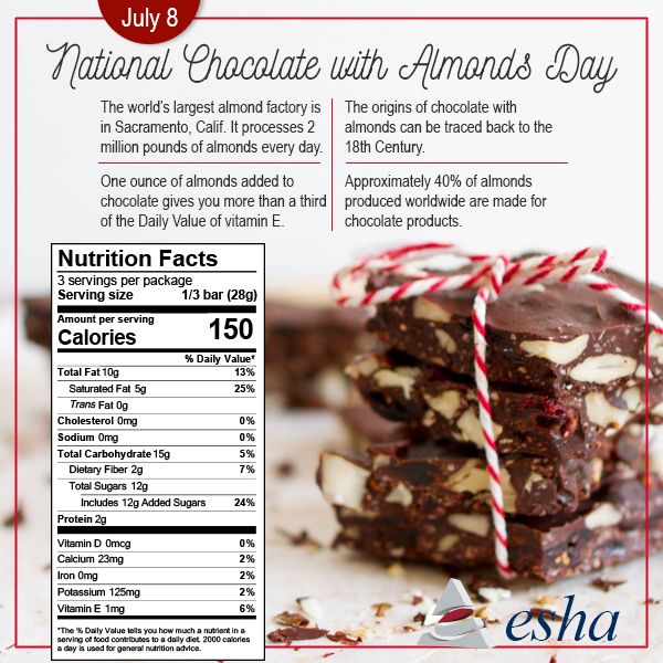 July 8th Is National Chocolate With Almonds Day Foodfactfriday Food Facts Food Nutrition