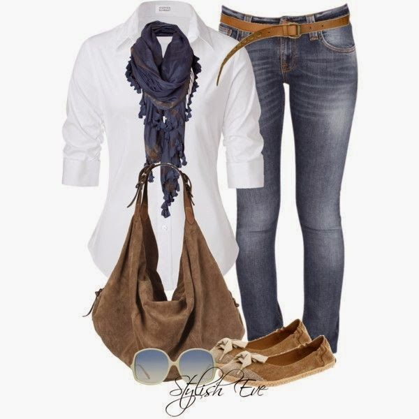 Stylish scarf, white shirt, jeans, hand bag and shoes for fall