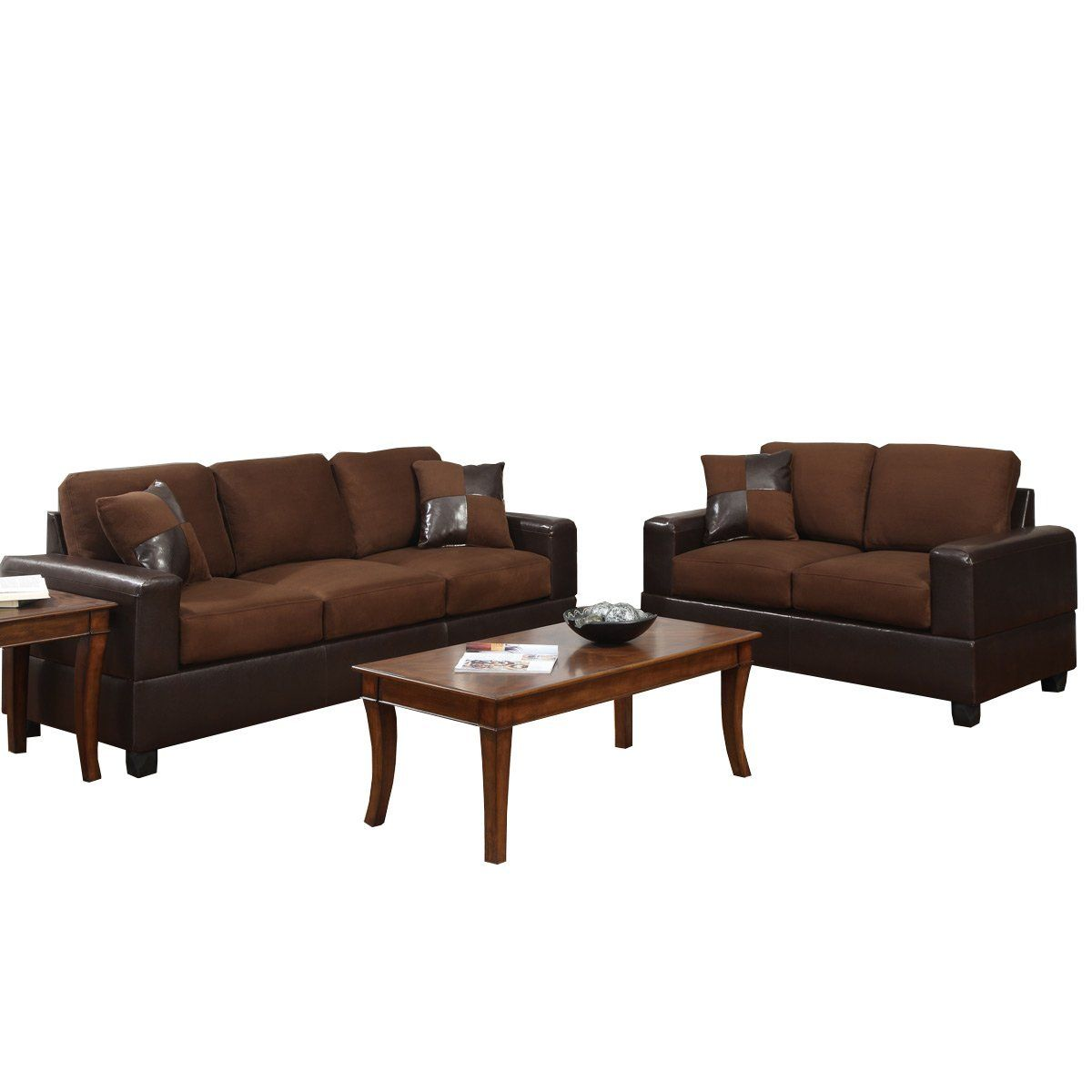 Best Seattle Chocolate Color Microfiber Sofa And Loveseat 2 400 x 300